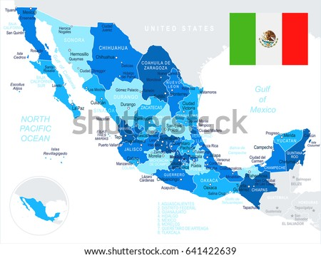 mexico map and flag highly detailed vector illustration