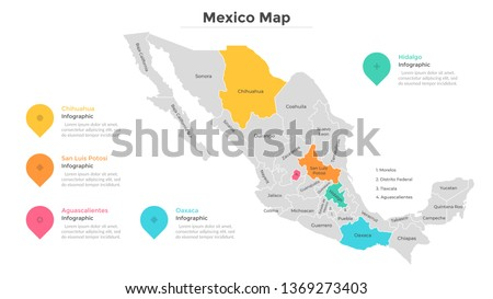 Mexico map divided into regions or states. Territory of country with regional borders, geographical division. Infographic design template. Flat vector illustration for brochure, touristic website. #1369273403
