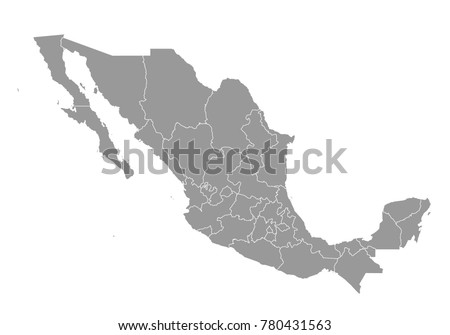 mexico map. High detailed map of mexico on white background. Vector illustration eps 10.