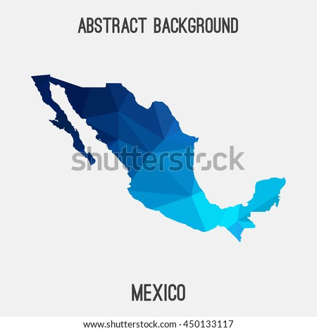 Mexico map in geometric polygonal,mosaic style.Abstract tessellation,modern design background,low poly. Vector illustration.