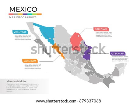 Mexico map infographics vector template with regions and pointer marks #679337068