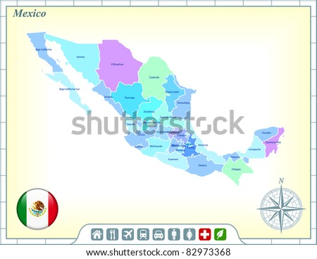 Mexico Map with Flag Buttons and Assistance & Activates Icons Original Illustration