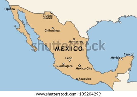 Mexico map with major Mexican cities: Mexico City, Guadalajara, Ciudad Juarez, Tijuana, Monterrey and others