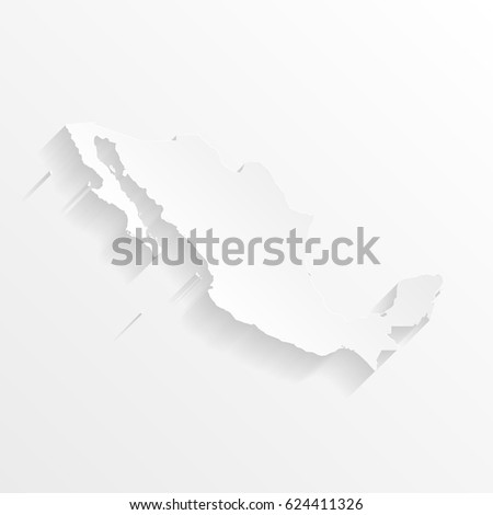 Mexico Map with shadow. Cut paper isolated on a white background. Vector illustration.