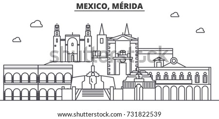 Mexico, Merida architecture line skyline illustration. Linear vector cityscape with famous landmarks, city sights, design icons. Editable strokes