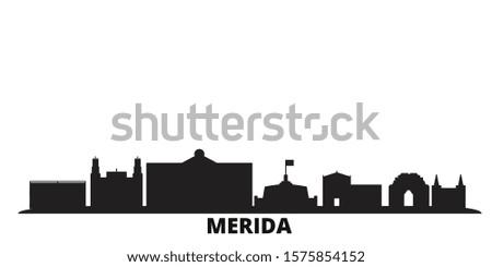 Mexico, Merida city skyline isolated vector illustration. Mexico, Merida travel black cityscape