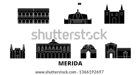 Mexico, Merida flat travel skyline set. Mexico, Merida black city vector illustration, symbol, travel sights, landmarks.