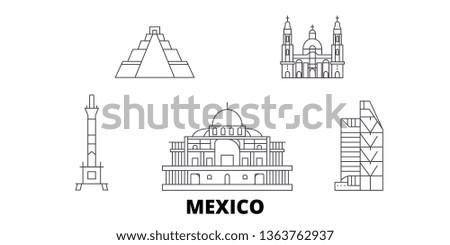 Mexico, Mexico City line travel skyline set. Mexico, Mexico City outline city vector illustration, symbol, travel sights, landmarks.