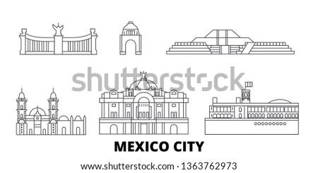 Mexico, Mexico line travel skyline set. Mexico, Mexico outline city vector illustration, symbol, travel sights, landmarks.