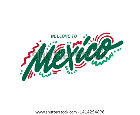 Mexico. Name country word text card, banner script. Beautiful typography. Handwritten design modern brush lettering isolated vector.