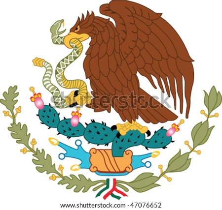 Mexico national emblem - golden eagle catch snake