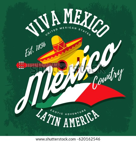 Shutterstock Mexico or mexican sign with sombrero hat and banjo or guitar, flag as sign for latin america country. Cloth branding or t-shirt print tourism or travel advertising or ads, viva mexico theme