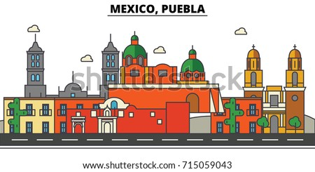 Mexico, Puebla. City skyline, architecture, buildings, streets, silhouette, landscape, panorama, landmarks, icons. Editable strokes. Flat design line vector illustration concept