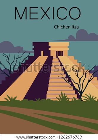 Mexico retro post. Landscape of Mexico with the ancient pyramid of Chichen Itza.