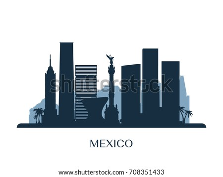 Mexico skyline, monochrome silhouette. Vector illustration.