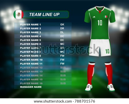 Mexico soccer jersey kit with team line up board on soccer stadium and crowd fan with spot light backdrop on night time. Concept for Central America football result background in vector illustrative