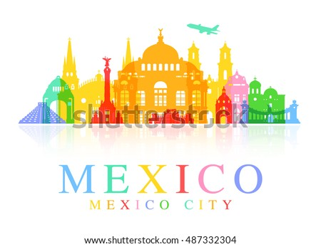 Mexico Travel Landmarks. Vector and Illustration