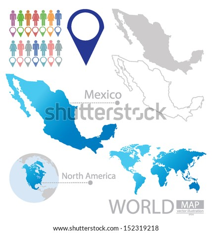 Mexico. United Mexican States. North america. World Map. vector Illustration.