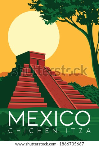 Mexico Vector Illustration Background. Travel to Chichen Itza Mexico. Flat Cartoon Vector Illustration in Colored Style.