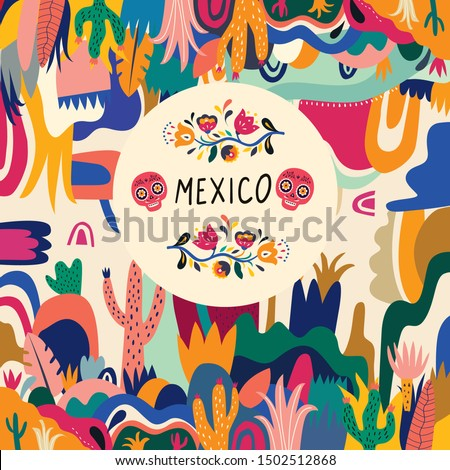 Mexico vector illustration. Colorful Mexican design. Stylish artistic Mexican decor for Mexican holidays and party