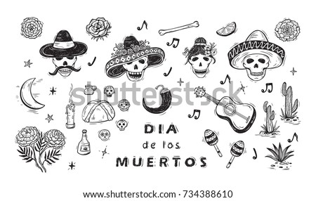 mexico vector set dia de los