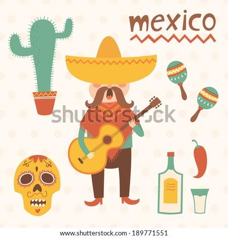 mexico vector set illustration