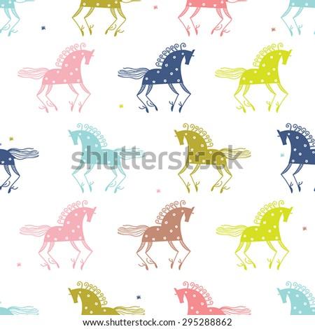 Mezen horse. Folk seamless vector pattern.