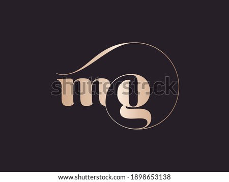MG monogram logo.Abstract typographic signature icon.Letter m and letter g.Lettering sign isolated on dark background.Alphabet initials.Metallic rose gold wedding characters and swirl element.