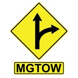 MGTOW Men Go Their Own way, vector arrow sign aside Men Go Their Own way