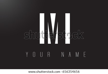 MI Letter Logo With Black and White Letters Negative Space Design.