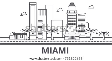 miami architecture line skyline
