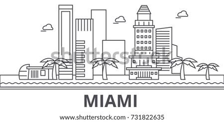 miami architecture line skyline