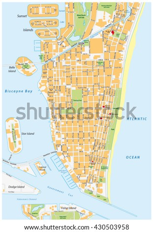 miami beach detailed vector