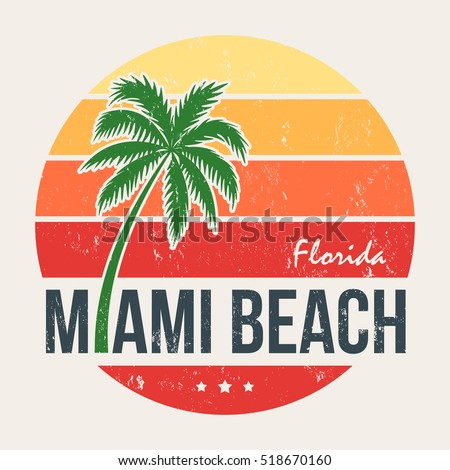 miami beach florida tee print