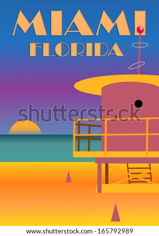 miami beach sunset poster