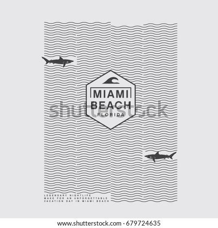 miami beach typography  tee