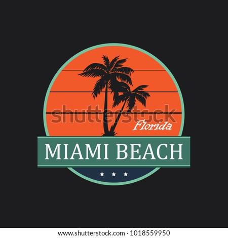 Miami Beach Vintage T-Shirt Design. Vector.