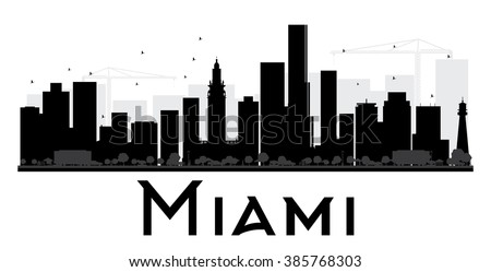 miami city skyline black and