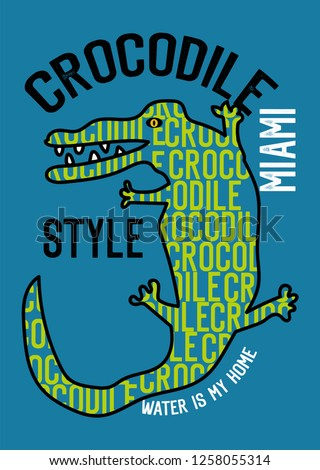 miami crocodile style,t-shirt design