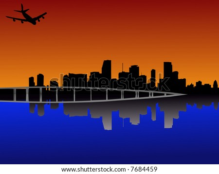 Miami Florida skyline reflected at sunset with plane