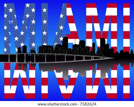 Miami Florida skyline reflected with American flag text