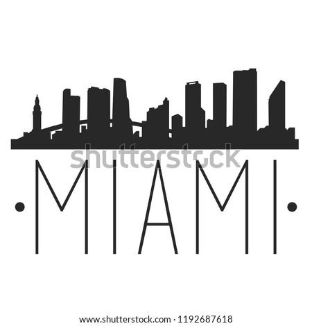 Miami Florida Skyline Silhouette City Design Vector Famous Monuments