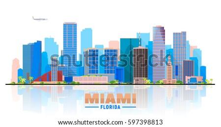 miami florida skyline with