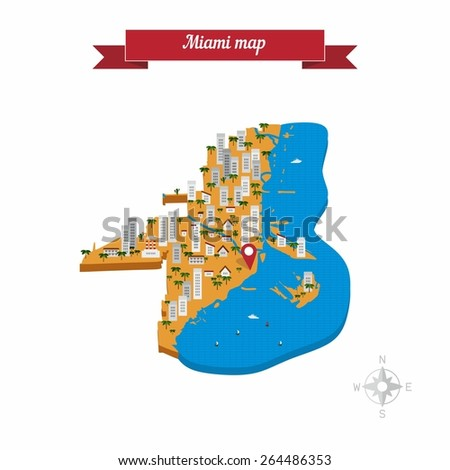 miami map flat style design