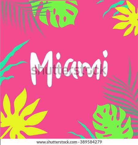 miami poster palm and banana