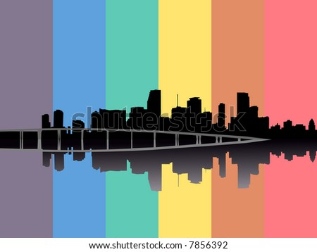 Miami skyline reflected with rainbow flag illustration