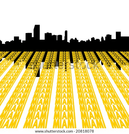 Miami Skyline reflected with text illustration