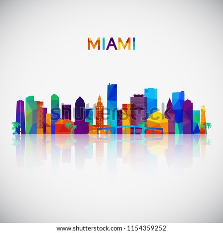 Miami skyline silhouette in colorful geometric style. Symbol for your design. Vector illustration.