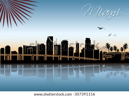 miami skyline   vector