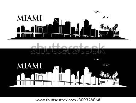 Miami skyline - vector illustration